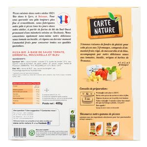 Carte Nature Pizza 3 fromages bio