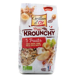 Grillon Or Mes krounchy 5 fruits bio raisin, banane, pomme, noix de coco et noisette