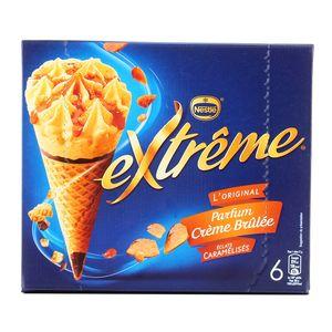 Extrême 6 cônes glacés parfum crème brûlée et éclats caramélisés 6x120ml
