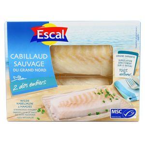 Escal 2 Dos entiers de Cabillaud Sauvage du Grand Nord MSC 2x125g