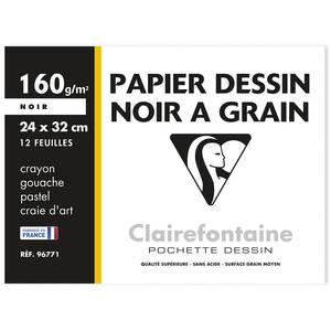 Clairefontaine Feuilles de dessin 24 x 32 cm 160 g/m² noir