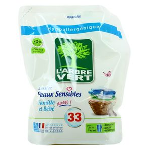 L'arbre Vert Recharge lessive liquide peaux sensibles famille et bébé