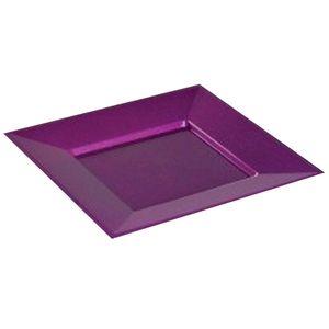 concept design assiettes carre nacres pourpre paillet 24x24cm 12 assiettes. Black Bedroom Furniture Sets. Home Design Ideas