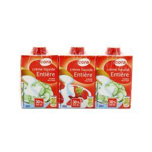Crème liquide 30% Mat.gr UHT ,CORA,3x20cl