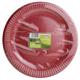 Cora 20 Assiettes en carton rouge