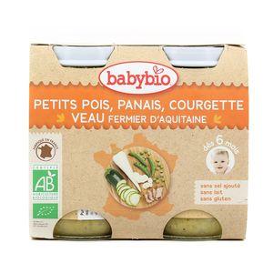 Babybio Petits pois, panais, courgette et veau fermier d'Aquitaine et du Limousin Bio dès 6 mois