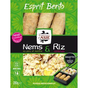 Esprit Bento Nems de Porc et Menthe & Riz Cantonais