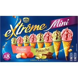 Extrême Mini 8 Mini cônes glacés fraise et éclats de meringue ou pistache et sauce chocolat