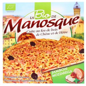 La Pizza De Manosque Pizza Bio Jambon Mozzarella cuite au feu de bois de chêne et de hêtre