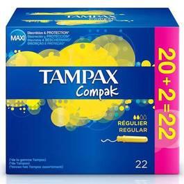 Tampax Tampons hygiéniques compak avec applicateurs en plastique lites flux régulier