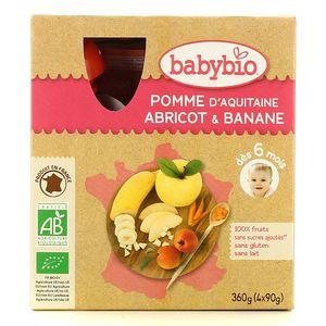Babybio Gourde pomme d'Aquitaine, abricot, banane bio, dès 6 mois