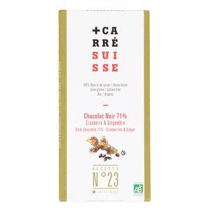 Carré Suisse Chocolat Noir Bio 71% - Cranberry & Gingembre- N°23