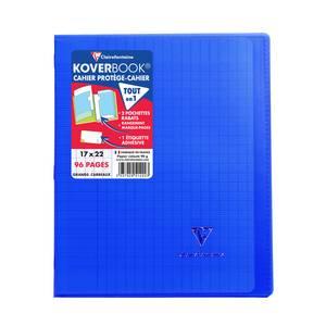 Clairefontaine Cahier Kover Book 17 x 22 cm grands carreaux bleu marine translucide