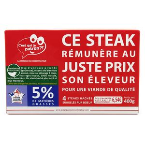 C'est qui le Patron 4 Steaks hachés pur boeuf façon bouchère 5% MG
