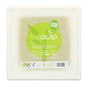 Be Pulp 25 assiettes carrées pulpe canne à sucre