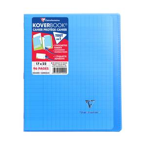 Clairefontaine Cahier Kover Book 17 x 22 cm grands carreaux bleu translucide