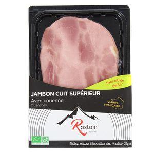 Rostain Jambon cuit Bio avec couenne, 90g
