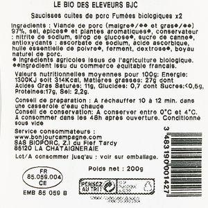 Bonjour Campagne Saucisse de Montbelliard Bio, 200g