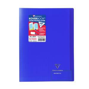 Clairefontaine Cahier Kover Book 21 x 29,7 cm grands carreaux bleu marine translucide