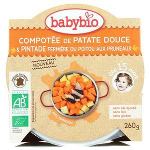 Babybio Compotée de patate douce et pintade fermière du Poitou aux pruneaux bio, dès 15 mois