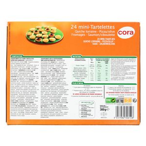 Cora 24 Mini tartelettes salées- 4 recettes panachées Quiche Lorraine, Pizza-Olive, Saumon-Ciboulette, Fromages