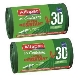 Alfapac Sacs poubelle 30L coulissac à liens coulissants Vegetal Origin