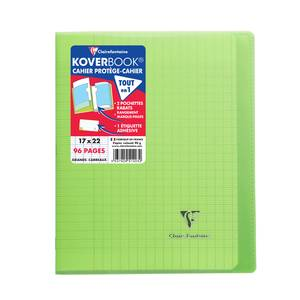 Clairefontaine Cahier Kover Book 17 x 22 cm grands carreaux vert translucide