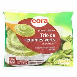 Cora Purée de trio de légumes verts- Courgettes, haricots verts, petits pois doux à la crème fraîche