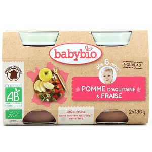 Babybio Pomme d'Aquitaine et fraise bio, dès 6 mois