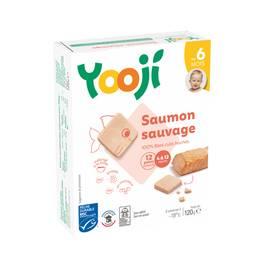 Yooji Saumon Pêche durable MSC haché, cuit et surgelé en galets dès 6 mois