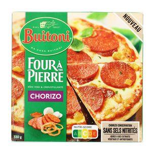 Buitoni Four à pierre Pizza Chorizo, Oignons, Fromage, Sauce douce aux épices