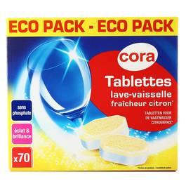 cora tablettes lave vaisselle fracheur citron 70 doses. Black Bedroom Furniture Sets. Home Design Ideas