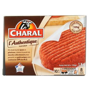 Charal 8 steaks hachés- L'Authentique pur boeuf 10% MG