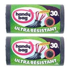 Handy Bag Sacs poubelle 30L avec poignées coulissantes ultra protection