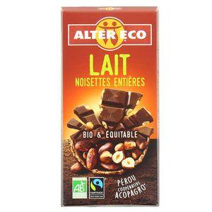 Alter Eco - Commerce Equitable Chocolat au lait et noisettes entières bio
