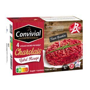Convivial 4 Steaks hachés de boeuf charolais façon bouchère pur boeuf Label Rouge 12% de MG