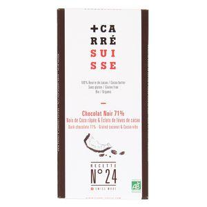 Carré Suisse Chocolat noir Bio 71% Noix de Coco râpée- N° 24