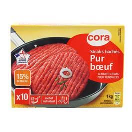 Cora 10 Steaks hachés pur boeuf 15% Mg 10x100g