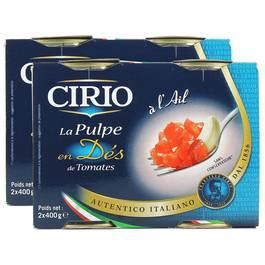 La pulpe en dés de tomates à l'ail, Lot de 2 paquets de 2x,CIRIO,2x