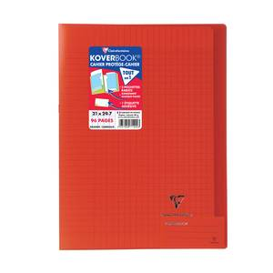 Clairefontaine Cahier kover book 21 x 29,7 cm grands carreaux rouge translucide