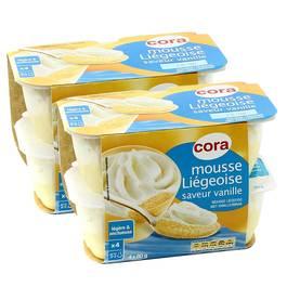 Mousse à la liégeoise vanille, Lot de 2 packs de 4x,CORA,8 pots
