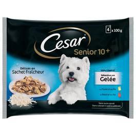 César Sachets fraîcheur en gelée 2 variétés pour chien senior