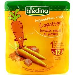 Blédina, Carottes lentilles corail et jambon, dès 12 mois, le sachet de 190 g