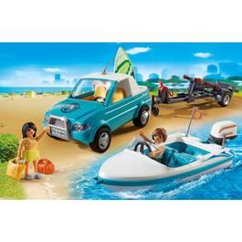 PLAYMOBIL® Summer Fun Voiture avec bateau et moteur submersible
