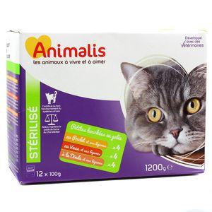 Animalis Aliments pour chats stérélisés - Sachets fraicheur à la viande
