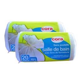 cora sacs poubelle 10l salle de bains lot de 2x20 sacs. Black Bedroom Furniture Sets. Home Design Ideas