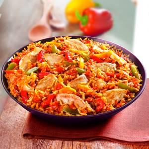 Marie Poulet basquaise et riz cuisiné aux tomates avec des oignons et une pointe de thym