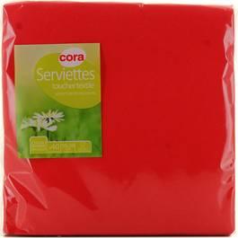 Cora Serviettes papier toucher textile rouges