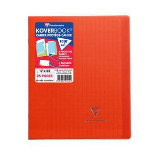 Clairefontaine Cahier Kover Book 17 x 22 cm grands carreaux rouge translucide