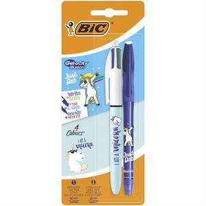 Bic Stylo roller Gel-Ocity encre bleue effaçable + stylos 4 couleurs Original décor licorne